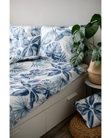 Modré bavlnené obliečky Cotton HoMonstera, 140 x 200 cm