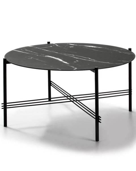 Marckeric Čierny konferenčný stolík so sklenenou doskou v mramorovom dekore Marckeric, ø 84 cm