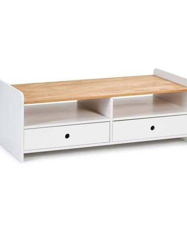 Biely konferenčný stolík s doskou z borovicového dreva Marckeric Monte