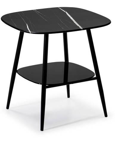 Čierny odkladací stolík so sklenenou doskou v mramorovom dekore Marckeric Alina