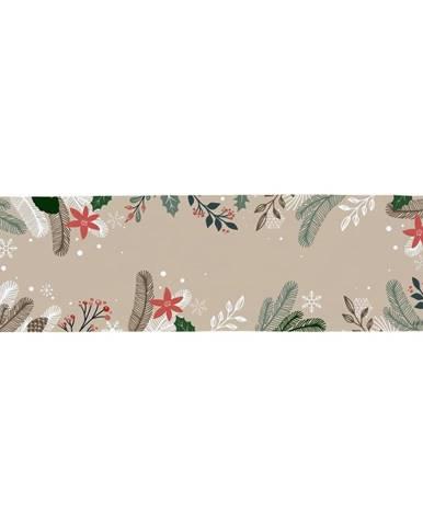 Bavlnený behúň s vianočným motívom Butter Kings Frosted Branches, 140 x 40 cm
