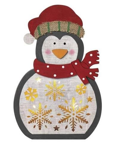 LED dekorace  Emos vánoční tučňák dřevěný, 30cm, 2× AAA, teplá bílá