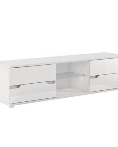 RTV stolík biela/biela s extra vysokým leskom ADONIS AS 30