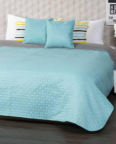 4Home Prehoz na posteľ Doubleface tyrkysová/sivá, 220 x 240 cm, 2 ks 40 x 40 cm