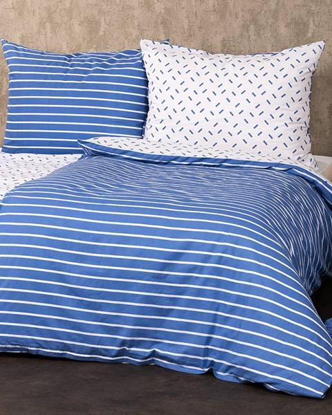 4Home 4Home Bavlnené obliečky Pruhy modrá, 140 x 220 cm, 70 x 90 cm