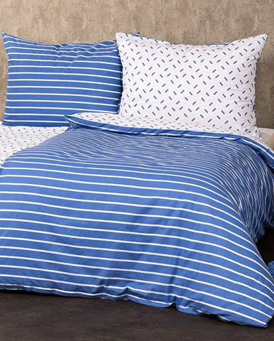 4Home Bavlnené obliečky Pruhy modrá, 140 x 220 cm, 70 x 90 cm
