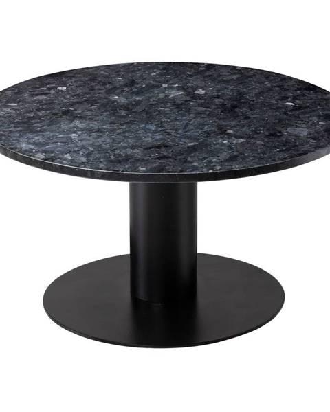 RGE Čierny žulový konferenčný stolík s podnožím v čiernej farbe RGE Pepo, ⌀ 85 cm