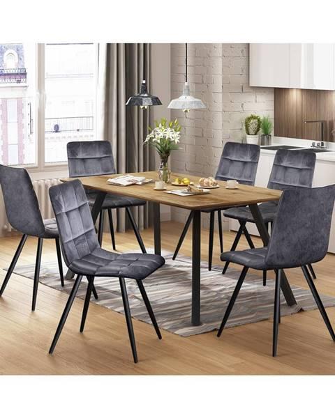 IDEA Nábytok Jedálenský stôl BERGEN dub + 6 stoličiek BERGEN sivý zamat