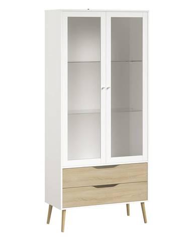 Vitrína 2 zásuvky + 2 dvere NORSK dub/biela