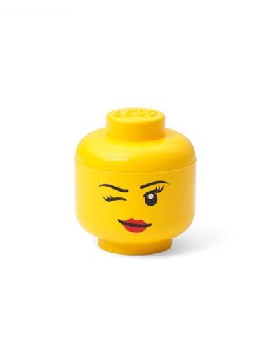 Žltá úložná škatuľa v tvare hlavy LEGO® whinky, 10,5 x 10,6 x 12 cm