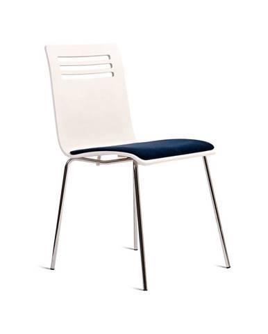 Biela stolička so sedákom z bukového dreva Charlie Pommier Comfort