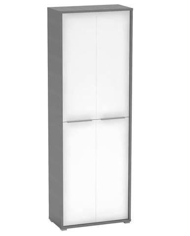 Vysoká skriňa grafit/biela RIOMA NEW TYP 5