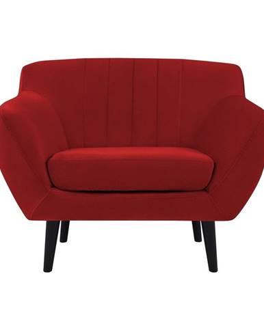 Červené zamatové kreslo Mazzini Sofas Toscane