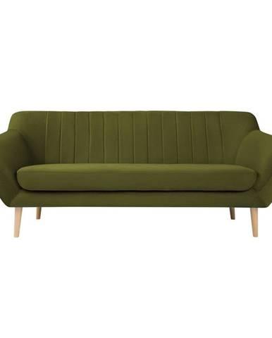Zelená zamatová pohovka Mazzini Sofas Sardaigne, 188 cm