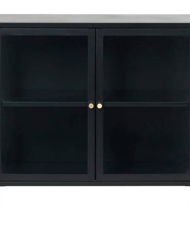 Čierna komoda s presklenými dverami Unique Furniture Carmel, dĺžka 90 cm