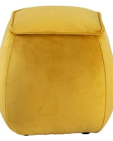 Žltý zamatový puf Actona Mie, 40 x 40 cm