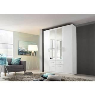 Šatníková skriňa BAYLEE alpská biela, 4-dverová s 2 zrkadlami