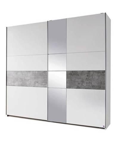 Šatníková skriňa CADENCE biela/sivá, šírka 218 cm