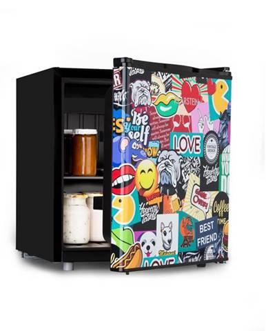 Klarstein Cool Vibe 48+, chladnička, A+, 48 litrov, VividArt Concept, štýl stickerbomb