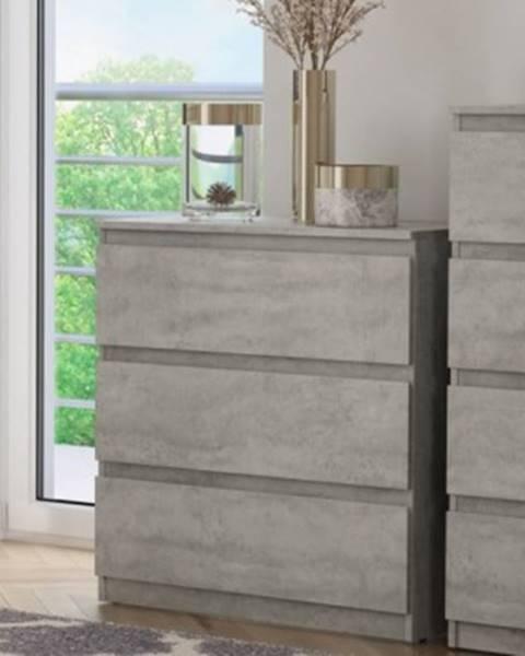 ASKO - NÁBYTOK Zásuvková komoda Carlos 753S, šedý beton, výška 80 cm%