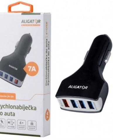 Nabíjačka do auta Aligator 4xUSB 7A, Turbo charge 3.0, čierna