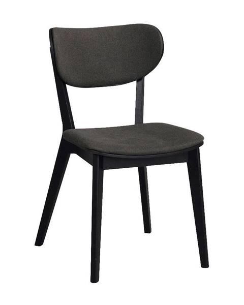 Rowico Čierna dubová jedálenská stolička s tmavosivým sedadlom Rowico Cato
