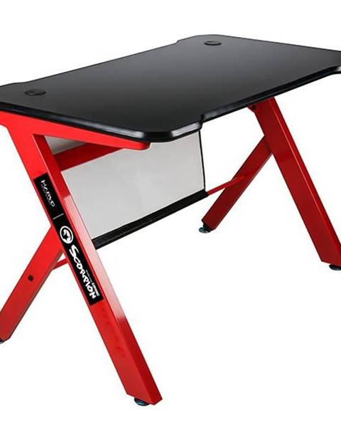 Marvo Herný stôl Marvo DE-03, 120x61 cm, podsvícený čierny/červený