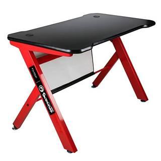 Herný stôl Marvo DE-03, 120x61 cm, podsvícený čierny/červený