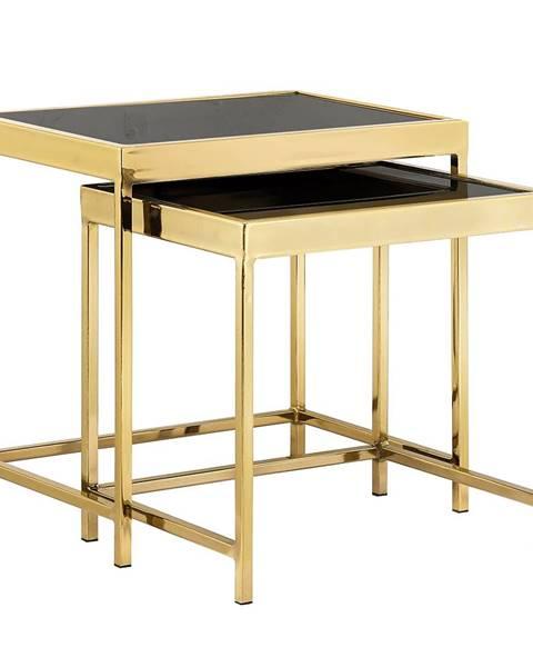 Kondela Set 2 konferenčných stolíkov gold chróm zlatá/čierna VITOR
