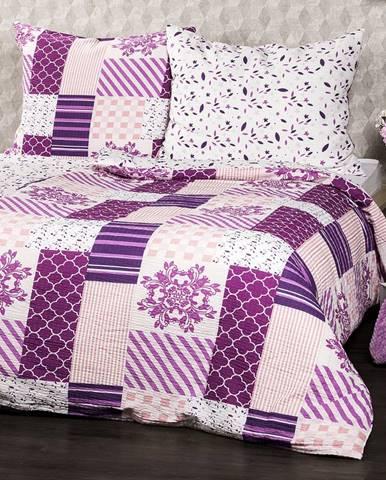 4Home Krepové obliečky Patchwork violet, 140 x 220 cm, 70 x 90 cm