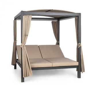 Blumfeldt Eremitage Double XL slnečné ležadlo, 2 osoby, kovový rám, slnečná strecha, závesy