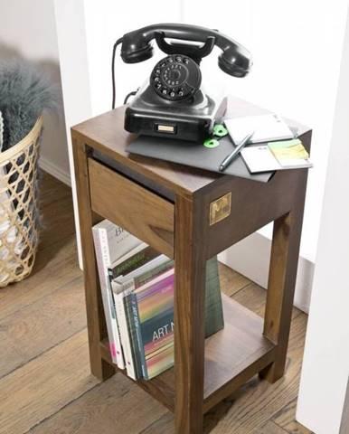 ROUND Príručný stolík 30x30 cm, hnedá, palisander