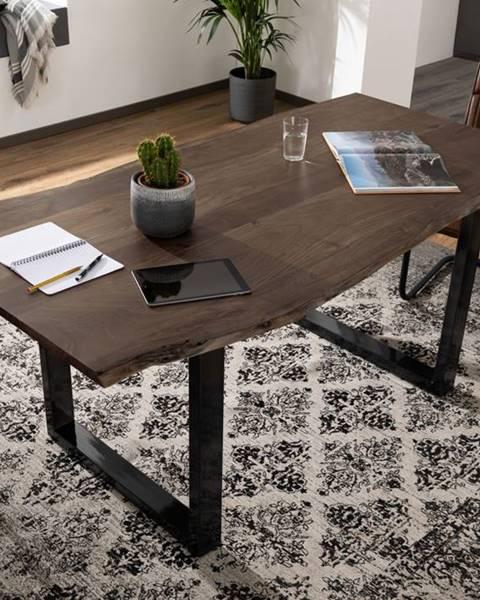 Bighome.sk METALL Jedálenský stôl s antracitovými nohami (lesklá) 140x90, akácia, sivá