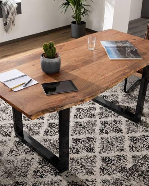 Bighome.sk METALL Jedálenský stôl s antracitovými nohami (lesklé) 160x90, akácia, prírodná