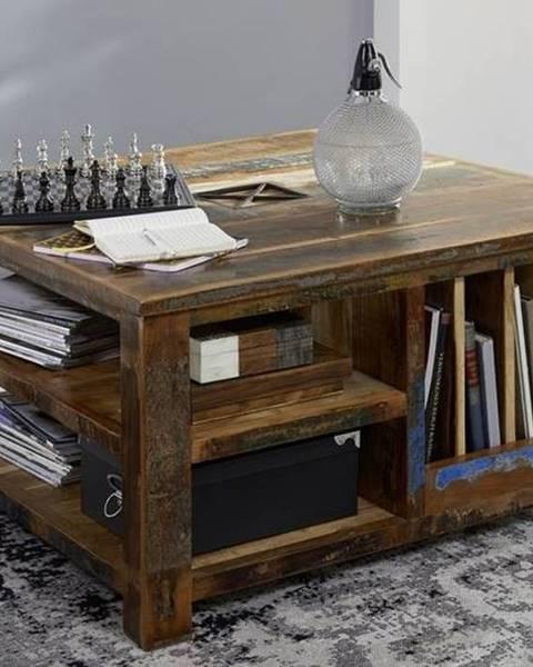 Bighome.sk OLDTIME Konferenčný stolík s poličkami 90x90 cm, staré drevo