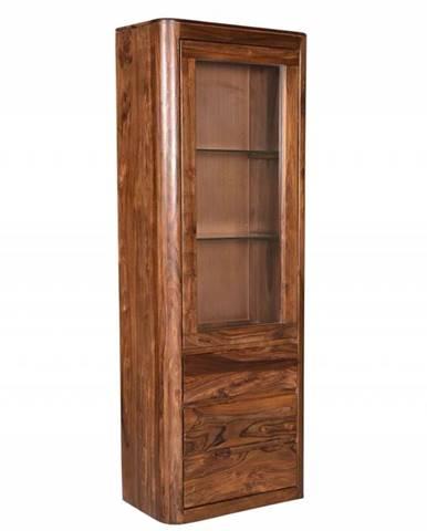 MONTREAL Vitrína 70x202 cm, hnedá, palisander