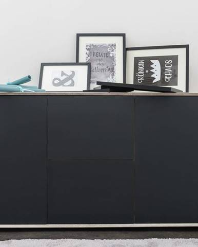 TAMPERE Komoda 78x150 cm, dub, svetlosivá