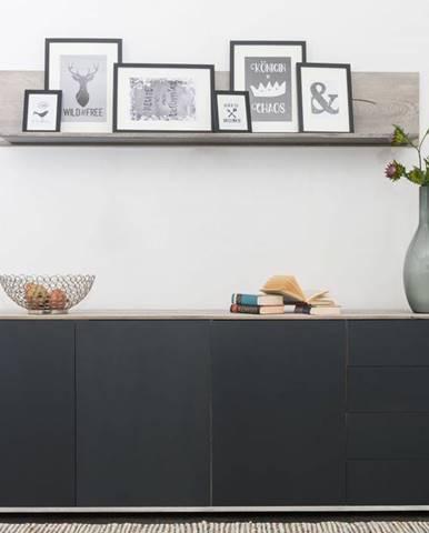 TAMPERE Komoda 78x210 cm, dub, svetlosivá