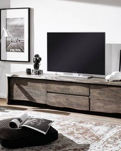WOODLAND TV stolík 220x50 cm, sivá, akácia