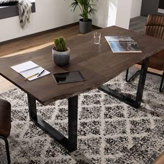 METALL Jedálenský stôl s antracitovými nohami (lesklá) 140x90, akácia, sivá