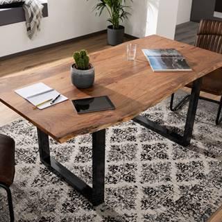 METALL Jedálenský stôl s antracitovými nohami (lesklé) 160x90, akácia, prírodná