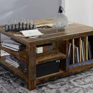 OLDTIME Konferenčný stolík s poličkami 90x90 cm, staré drevo