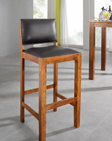 Bighome.sk CAMBRIDGE HONEY Barová stolička pravá koža, akácia