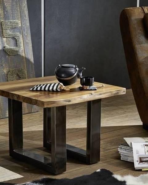 Bighome.sk ROUND Konferenčný stolík METALL 60x60 cm, hnedá, palisander