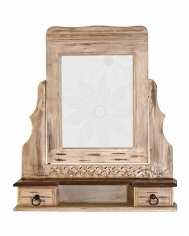 ANTIK Zrkadlo s nadstavcom 70x80 cm, mango a akácia
