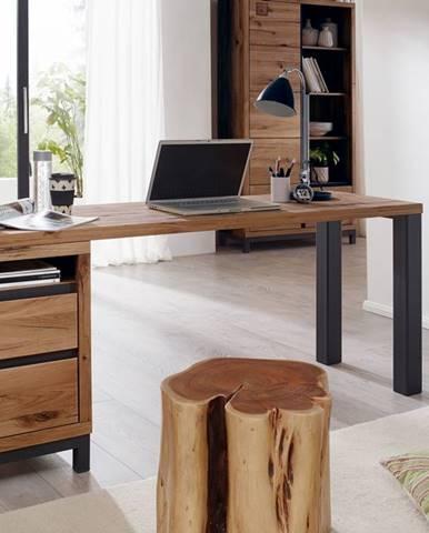 TIROL Písací stôl s poličkou 220x55 cm, tmavohnedá, dub