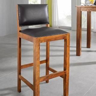 CAMBRIDGE HONEY Barová stolička pravá koža, akácia