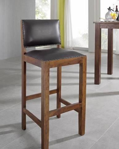 CAMBRIDGE Barová stolička pravá koža, akácia