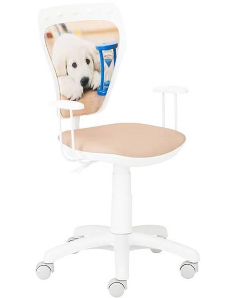 MERKURY MARKET Kancelárska stolička Ministyle White Labrador Klepsydra