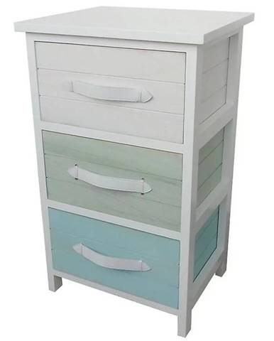 Komoda biela/farebna+3 košíky H-1508261